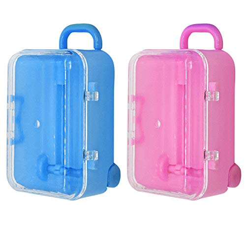 AUEAR, Cute Miniature Travel Hard Suitcase Box Candy Box Party Reception Candy Toy Gift Box Fit Suit for Barbie Doll Wedding Party Decoration (Pink & Blue, 2-Pack)
