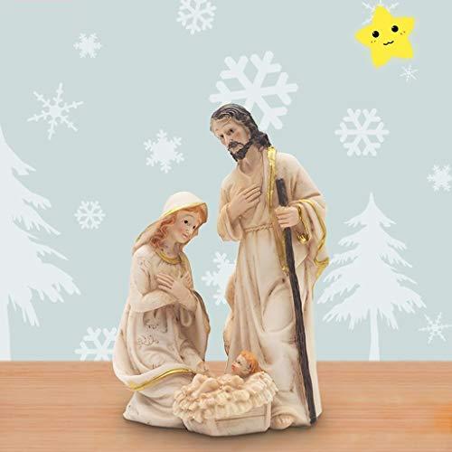 JWWOZ Natividad Sagrada Familia Católica De Resina Santo como Ornamentos del Escritorio Péndulo Oscilante Coche Natividad