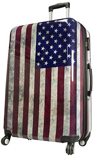 Trendyshop365 Hartschalen Trolley Reisekoffer Bedruckt - Motiv USA Flagge - 77 Zentimeter 94 Liter 4 Rollen Amerika