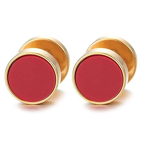 2 Oro Círculo Pendientes con Rojo Acrílica de Hombre Mujer, Arete, Acero Enchufe Falso Fake Cheater Plugs Gauges, 10MM