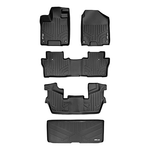 MAXLINER Custom Fit Floor Mats 3 Rows and Cargo Liner Behind 3rd Row Set Black for 2016-2019 Honda Pilot 7 Passenger Model
