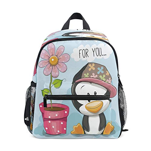 Cartoon Flower Penguin Toddler Preschool Backpack Bookbag Mini Shoulder Bag Rucksack Schoolbag for Pre-K 1-6 Years Travel Boys Girls
