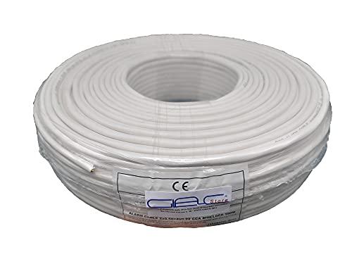 Glac Store® Cavo Cavi Allarme Bobina 6 Fili 4X0,22+2X0,50 mm 4+2 Matassa da 100 metri CCA Schermato Professionale Certificato Anti Propagazione in caso di Incendio