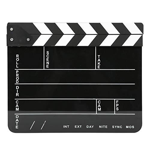 Claqueta de acrílico de 30 x 25 cm, aplauso de acción profesional de director, herramienta de fotografía, para juegos de rol, producción de video, película cinematográfica (Pizarra de barra blanca)