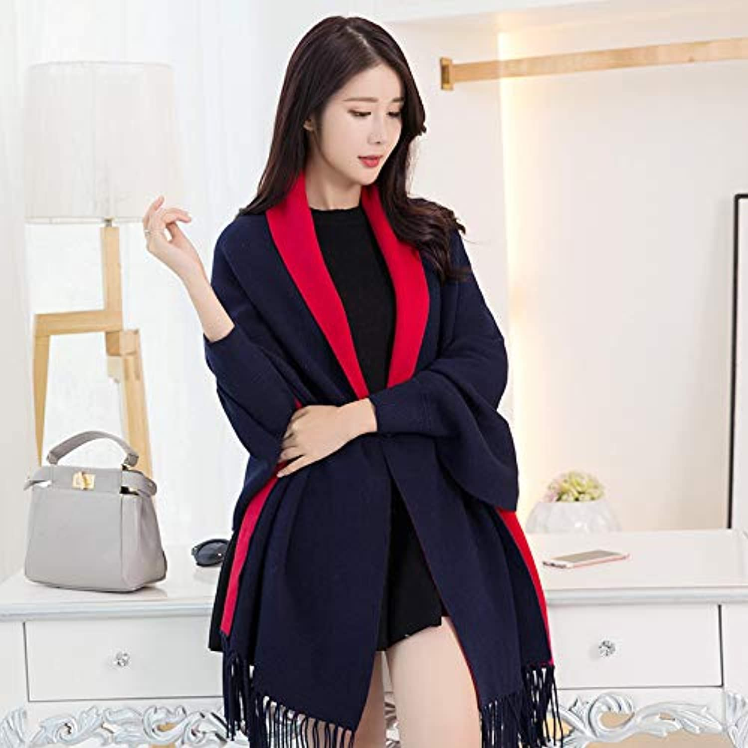 JINGB Home AirConditioned Room with Sleeves Shawl Female Summer Cloak Cloak Coat Scarf Dualuse Wild Autumn and Winter Super red (color   Black)