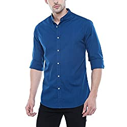 Dennis Lingo Mens Solid Chinese Collar Blue Casual Shirt