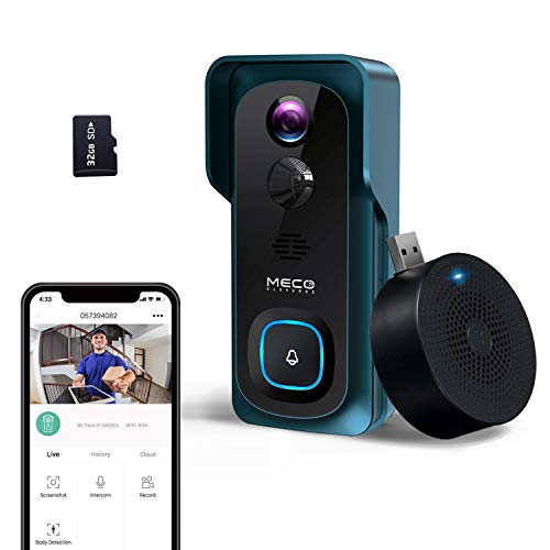 【2021 New】 WiFi Video Doorbell Camera, MECO 1080P Wireless Doorbell Camera with Indoor Chime, Motion Detection, Night Vision, IP65 Waterproof, 2-Way Audio, 32GB Preinstalled- Green