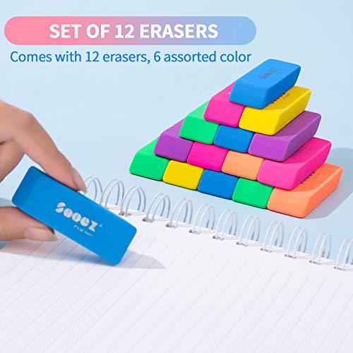 Sooez Pencil Eraser, 12 Pack Pencil Eraser for Kids, Pencil Erasers Bulk, Large Eraser for Drawing, Colorful Erasers, Big Erasers for School Classrooms, Teachers, Kids, Office, Art Class Photo #4