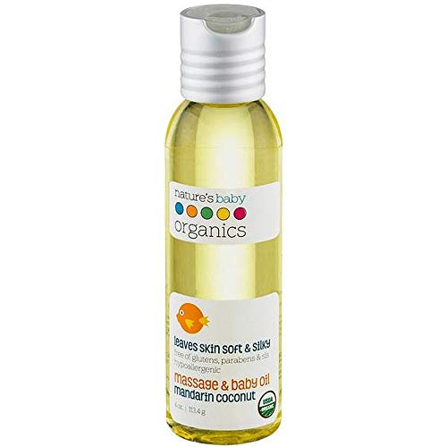 Nature's Baby Organics Baby Oil, Mandarin Coconut, Cruelty Free, Gentle on Skin, 4 oz