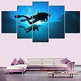 Dekoration Wohnzimmer Malerei Unterwasser Taucher Wandkunst HD Print Leinwand Poster Bild Rahmenlose...
