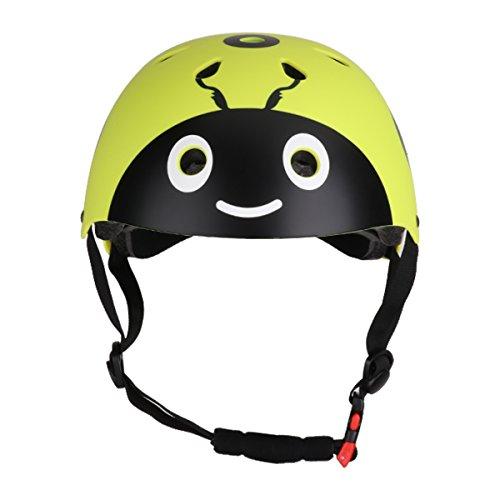 TiaoBug Kinder Fahrradhelm Marienkäfer Ladybug Helmet Skaterhelm Radhelm für Jungen Mädchen Ski Skateboard Scooter Sicherheits und Freiheit garantiert Gelb 48-54cm(Kopfumfang)