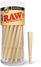 RAW Cones Classic 1-1/4 Size | 50 Pack | Natural Pre Rolled Rolling Paper with Tips & Packing Sticks Included