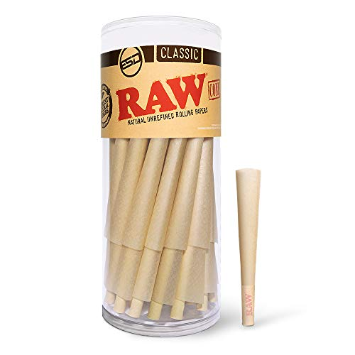 RAW Cones Classic 1 1/4 Size | 50 Pack | Natural Pre Rolled Rolling Paper with Tips & Packing Sticks Included