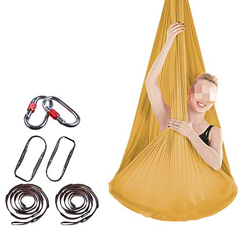 Best Bargain Durable Aerial Yoga Hammock Indoor Silk Anti-Gravity Yoga Stretch Free Knotted Buckle a...