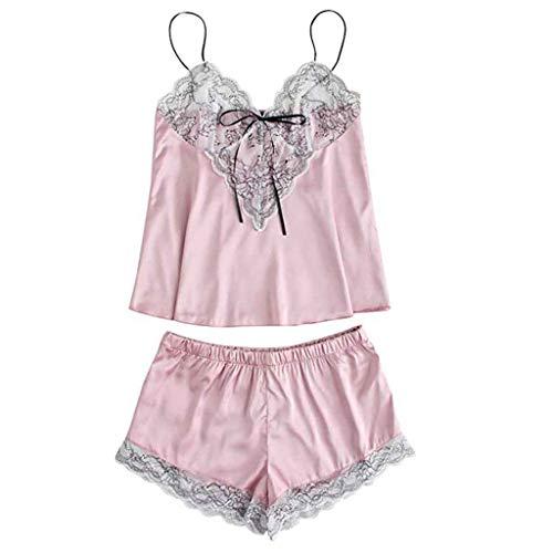Proumy Pijama Rosa Sexy Bata Floral Verano Mujer Ropa de Dormir de Encaje Vestido Cuello V Transparente Camisola Sólida con Tiras Finas Chaleco con Calzoncillos Vestido de Cama Dos Piezas Conjunto