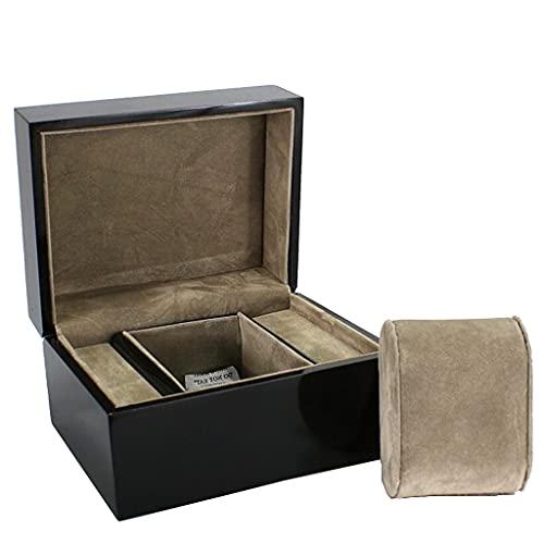 Caja de madera para reloj de pulsera de anillo de reloj de lujo de una sola ranura