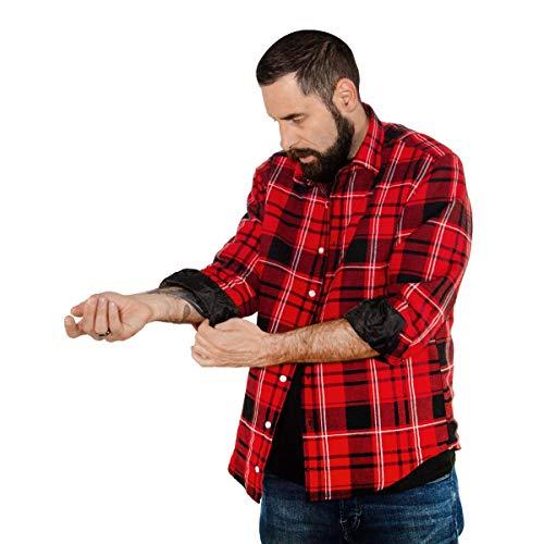 FORSBERG Skogmän warmes Flanell Hemd mit Winterfutter Steppfutter rot schwarz, Farbe:rot/schwarz, Größe:L