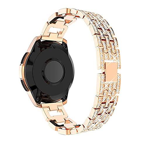 YYCHER Correa de reloj de acero inoxidable de 22 mm y 20 mm para Samsung Galaxy Watch de 46 mm/42 mm con diamantes para mujer Gear S3 (color de la correa: oro rosa, ancho de la correa: 20 mm)