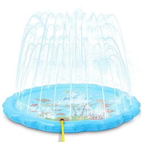 NextX Splash Pad Sprinkler 175cm, 68'' Wasser Sprinkler Matte/Sommer Garten Wasserpielzeug Outdoor, Pool Party Pad mit Marine Design für Kinder Familie Party(Blau)