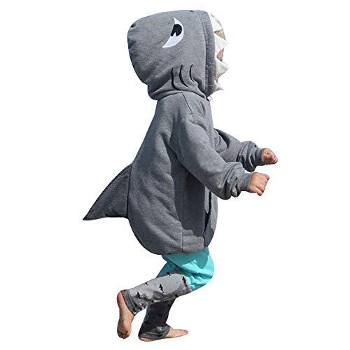PinkLu Conjunto De Pantalones De TiburóN De Manga Larga del Bebé NiñA NiñO 3D De Dibujos Animados Sudadera con Capucha Camiseta del TiburóN Tops + Pantalones Conjunto De Ropa