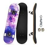 Skateboard Professionnel Standard Complet 31' x8 pour Enfants, Adolescents et Adultes débutants, Adolescents, 8 Couches d'érable Canadien, Double Planche avec Un Outil de réparation