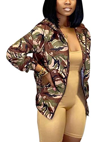 Mojessy Women's Floral Print Classic Quilted Baseball Jacket Fall Short Biker Bomber Jacket Coat,Camouflage,X-Large