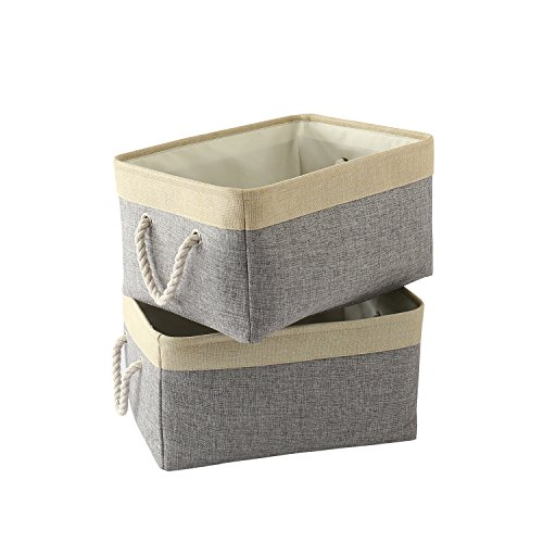 TheWarmHome Foldable Storage Basket with Strong Cotton Rope Handle, Collapsible Storage Bins Set Works As Baby Storage, Toy Storage, Nursery Baskets (Grey Patchwork, 2 Pack)