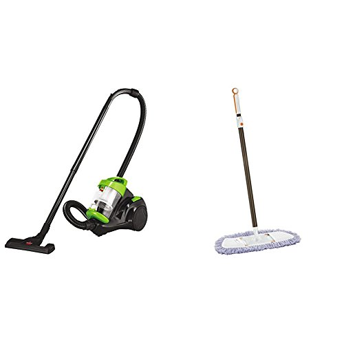 Bissell Zing Canister Bagless Vacuum, 2156A, Green with Lightweight Tile, Wood Floor and Hard Surface Dust Mop, 1763