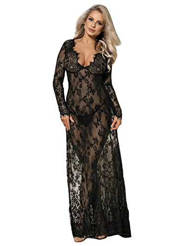 comeondear Damen Kleider Sexy Spitze Lang Langarm V-Ausschnitt Negligee Schwangerschafts Umstandskleid Cocktailkleid Abendkleid,L XL/40 EU 42EU,Schwarz