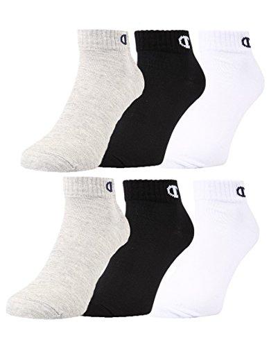 Champion - Calcetines unisex (6 unidades, 2 x 3 unidades), color gris claro, blanco y negro