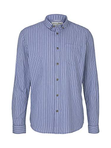 TOM TAILOR Denim Herren 1024716 Longsleeve Hemd, 26426-Blue Regular Yarn Dye Stripe, S