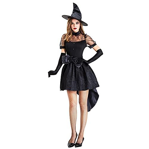 eiuEQIU Hexenkostüm Damen Kleid Schwarz Sexy Spitze Mesh Partykleid Set Karneval Halloween Hexe Kostüm Karneval Cosplay Hexen Anzug (Kurz Kleid + Hut + Nackenband + Gürtel + Handschuhe)