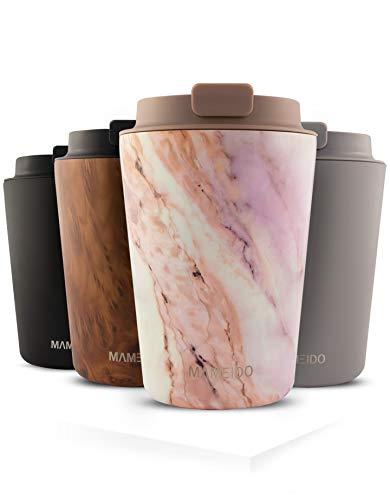 MAMEIDO Taza Térmica 350ml Pearl Marble - Termo Café en acero inoxidable sin BPA, Antigoteo - Vaso Termico Cafe y Té para llevar