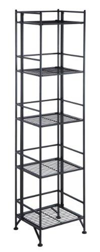 Convenience Concepts Xtra Storage 5 Tier Folding Metal Shelf, Black
