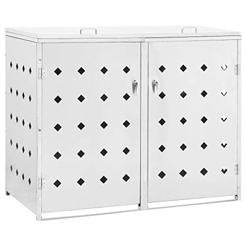 *Tidyard Edelstahl Mülltonne Mülltonnenbox Mit praktischer Tür und Verriegelungssystem & nützlichen Belüftungsöffnungen,je oder 240 Liter, Mülltonnenverkleidung Metall Müllbox,abschließbar*