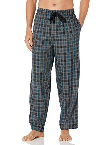Van Heusen Men's Twill Woven Printed Sleep Pant, Black Plaid, Small