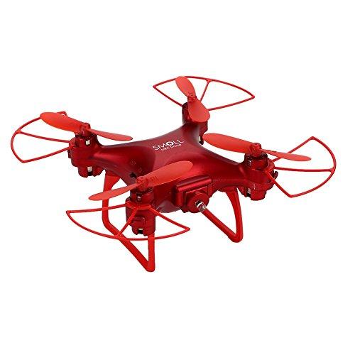 WSWRJY Mini Controllo Remoto Drone/Rc Drone Wifi Fpv Hd Regolabile 0.3Mp/2Mp Fotocamera Altitudine Elevata Tenere Premuto Un Tasto Ritorno/Take Off Quadcopter Drone, 2Mp Rosso