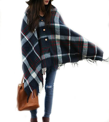 Pretty Simple Plaid Blanket Scarf w Buttons – Women's Large Shawl or Wrap – For Winter Spring or Autumn