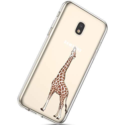 Herbests Handyhülle Kompatibel mit Samsung Galaxy J3 2017 Schutzhülle Silikon hülle Transparent Ultradünn Clear Cover Handytasche Weich Durchsichtig Klar Schutzhülle Case Cover Tasche,Giraffe