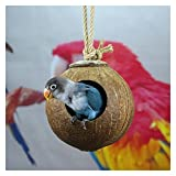 xiucai Nido de pájaro nido de cáscara de coco nidos de loro nido de coco de verano nido de pájaro suministros de loro juguetes nido de pájaro (color: pulido)