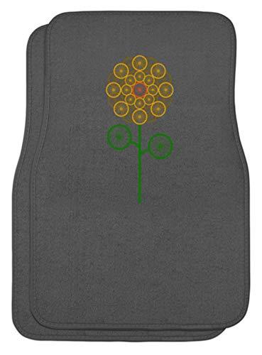 SPIRITSHIRTSHOP bloem, bloemen, wielen, groen, geel, oranje, zonnebloem, motorfiets, fiets, man, vrouw - automatten