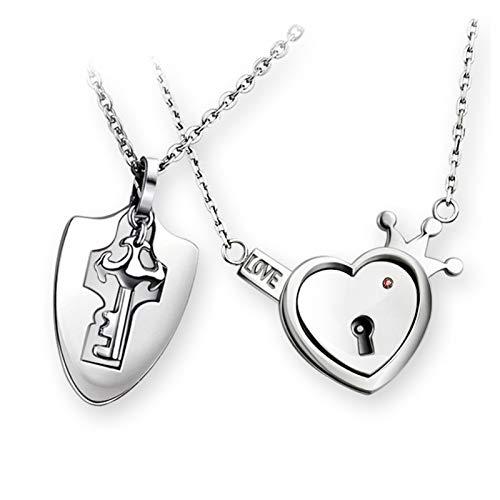Xuebai Collar con colgante de cerradura y llave, bonito collar de titanio para hombres y mujeres, regalo para cumpleaños, bodas y aniversarios