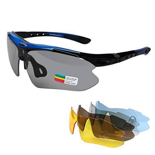 MOVIGOR Gafas deportivas de bicicleta para hombre y mujer, polarizadas, protección UV400, con 5 lentes de recambio, para deportes al aire libre, ciclismo, motocicleta, correr, pesca, golf