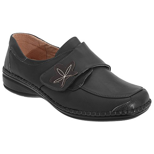 Boulevard - Zapatos casuales de ancho especial con cierre adhesivo para mujer (40 EU/Negro)