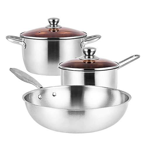 KCCCC Juego de Ollas y Sartenes 3-Piezas de Utensilios de Cocina Antiadherente Sistema Incluye Wok Stock Pot, Leche Olla en Todas Las Estufas con Tapas (Color : Silver, Tamaño : Free Size)
