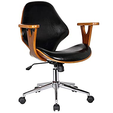 Porthos Home SKC009A BLK Lilian Office Chairs in Mid Century Modern Design with Arm Rests, Leather Upholstery, Height Adjustment & Stainless Steel Legs, Black