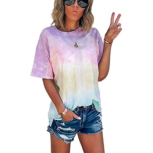 Elesoon Camiseta de verano para mujer con teñido degradado, color degradado, talla grande, manga corta, blusa suelta, A-rosa, 38