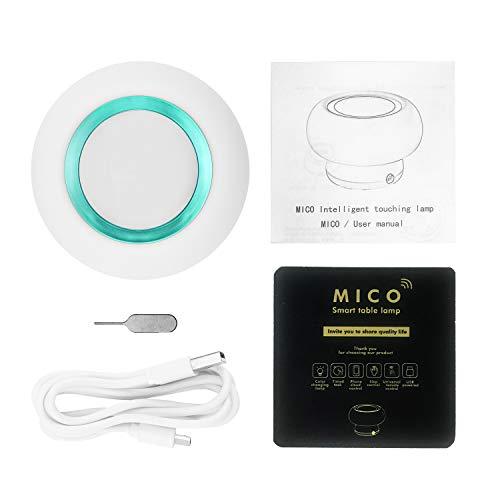 NANTING lámpara de mesa inteligente LED luz de seta.La lámpara de infrarrojos que controla los aparatos domésticos cuando no está en casa,Ajustar el calor y los tonos fríos.Soporte IOS/Android(Verde)