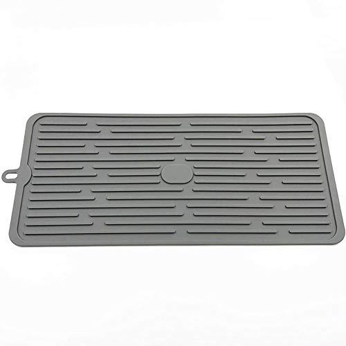 Escurridor de platos de silicona AniU, tapete de drenaje de cocina de secado rápido, resistente al calor, antideslizante, ecológico, escurridor de platos gris