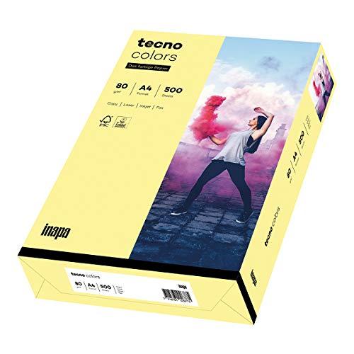 Inapa farbiges Druckerpapier, buntes Papier tecno Colors: 80 g/m², A4, 500 Blatt, hellgelb